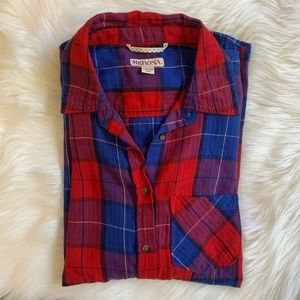 Red and Blue Plaid Button Down Fall Flannel